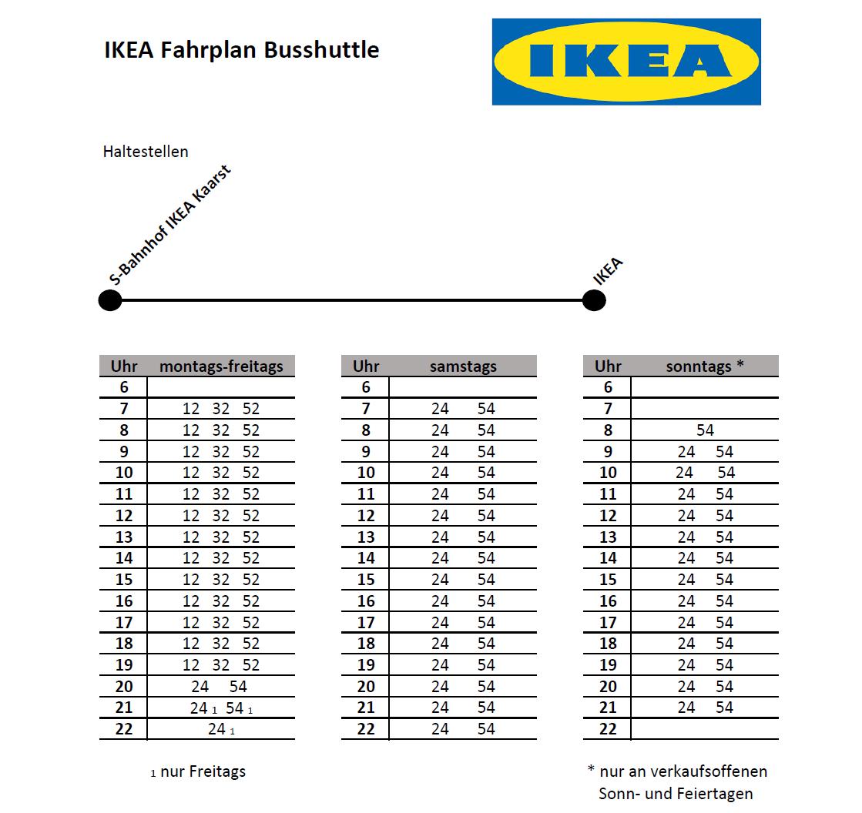 Ikea Feiertage shuttlebus ikea kaarst regiobahn